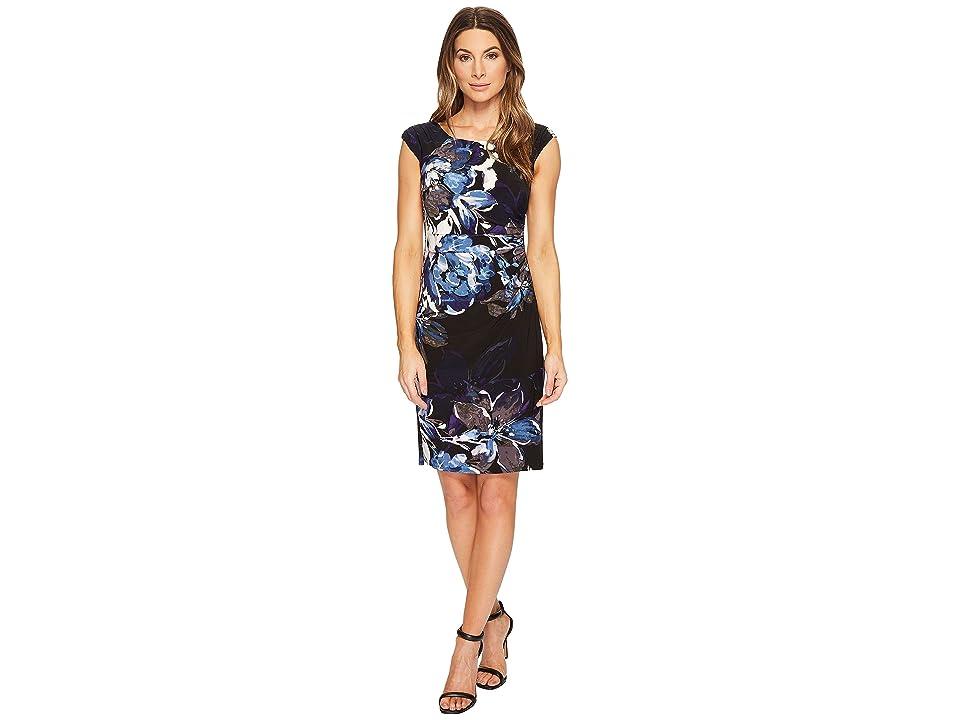 LAUREN Ralph Lauren Koriza Patras Floral Dress (Black/Blue/Multi) Women