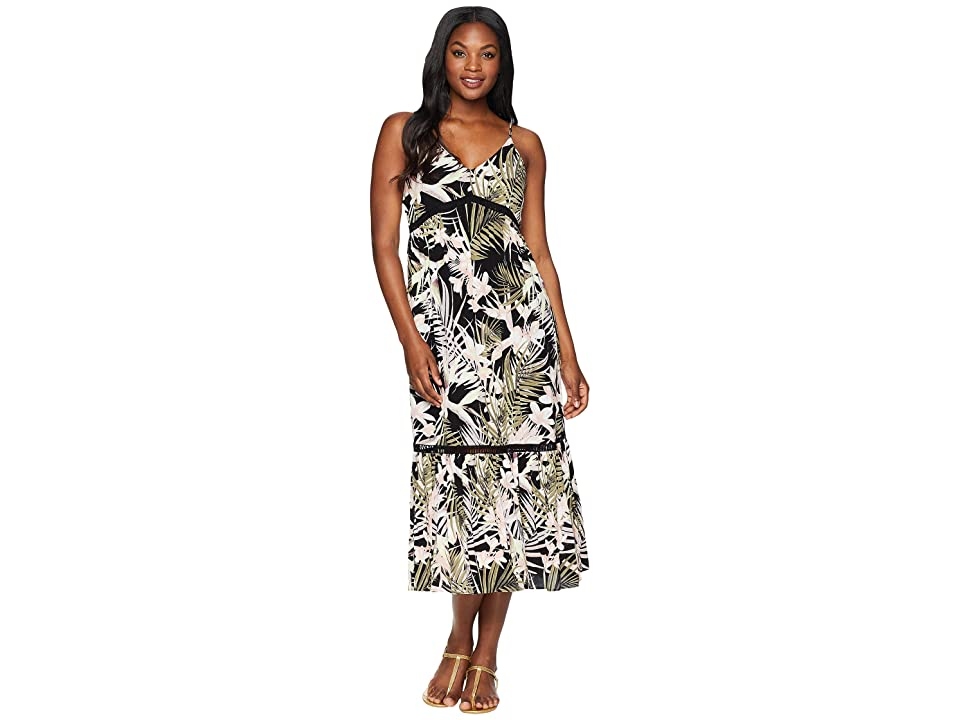 CeCe Sleeveless V-Neck Soft Palms All Over Maxi Dress (Rich Black) Women