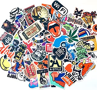 100 pcs Cool Stickers Pack Waterproof Pop Music Movies Brands Logo Vinyl Decals Stickers for Water Bottles, Laptops, Hydroflasks, Skateboard, Motorcycle, Guitar-for Teens, Boys, Girls, Kids, Adults
