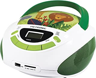 Metronic 477144 Radio Lecteur CD enfant Jungle avec Port USB/SD/AUX-IN – Vert et Blanc