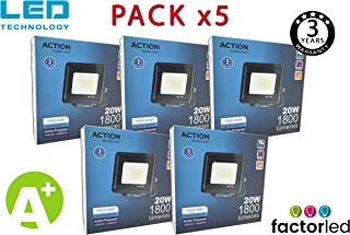 FactorLED ¡OFERTA! Pack x5 Foco LED 20W Negro Slim,