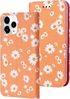 Funda de teléfono móvil para iPhone 12 Pro Max, funda de piel con purpurina y tarjetero, función atril, 360 grados, resist...