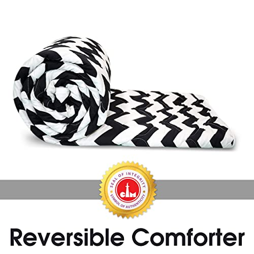 Divine Casa Microfiber All Weather Lightweight Single Comforter/Blanket/Quilt/Duvet, Abstract- Black and White (110 GSM)