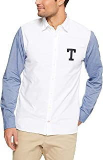 Tommy Hilifiger Men's Oxford Rugby Contrast Sleeve Logo Shirt