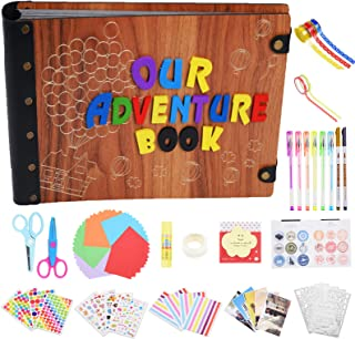 Our Adventure Book, Photo Album with 100 Pages, Movie Up DIY Handmade Scrapbook Album with 3D Wood Letters Cover, Abundant Accessories for Anniversary Valentines Wedding Travelling by Tebik