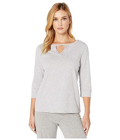 Karen Neuburger Glamour 3/4 Sleeve Pullover Top (Solid Medium Heather Grey) Women