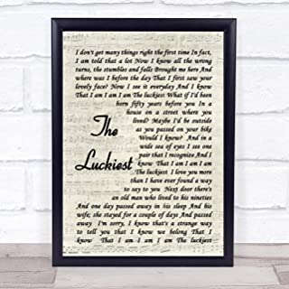 123 BiiUYOO The Luckiest Ben Folds Song Lyric Vintage Script Quote Print 12