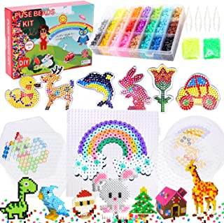 YFZYT Fuse Beads Kit 26 Colors 7200pcs 5mm Iron Beads Kids Craft Set with 10 Pegboards,4 Tweezers,4 Ironing Paper,and 66 P...