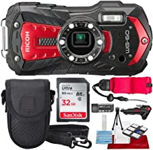 Ricoh WG-60 Waterproof Digital Camera, Red with 32GB, Floating Strap, Tripod Accessory Bundle