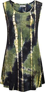 Tie Dye Tunics Womens Sleeveless Summer Tank Tops Summer Tunic Tops
