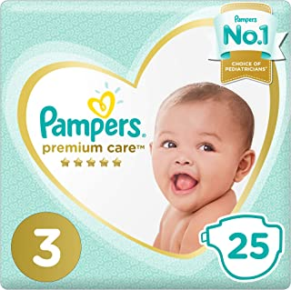 Pampers Premium care Diapers, Size 3, Midi, 5-9 kg, Carry Pack, 25 Count