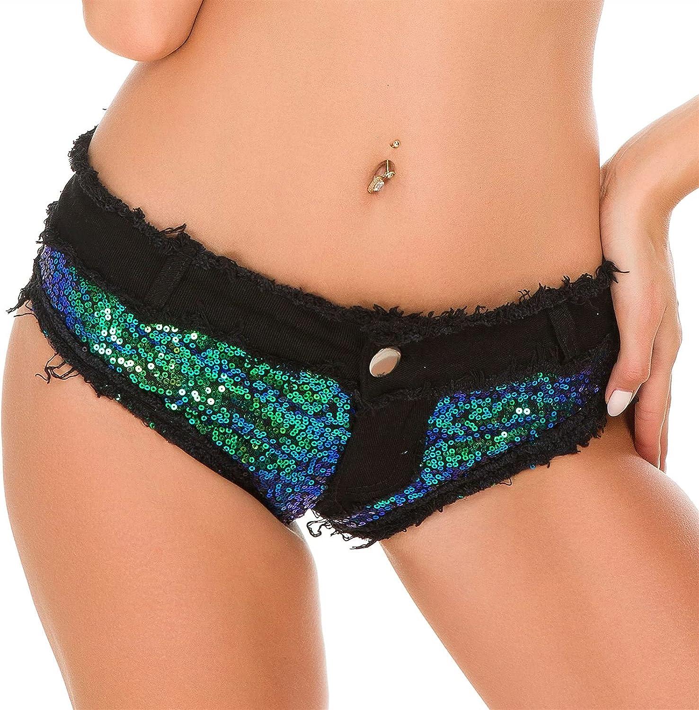 Summer Women's Denim Shorts Nightclub Women's Sexy High Waist Casual Shorts (Color : Black, Size : M.)