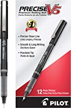 Pilot Precise V5 Stick Rolling Ball Pens, Extra Fine Point, Dozen Box, Black Ink (35334)