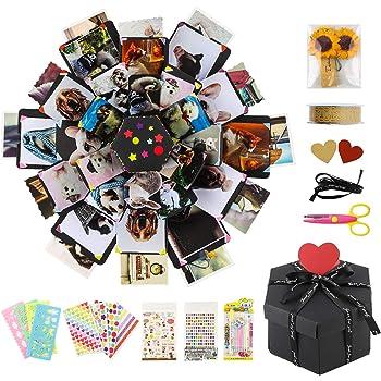 COAWG Caja de Regalo de Explosión Sorpresa de Bricolaje con 6 Lados, Álbum de Fotos Scrapbooking Creativo Hecho a Mano para Navidad Cumpleaños Aniversario San Valentín Boda Día de la Madre: Amazon.es:
