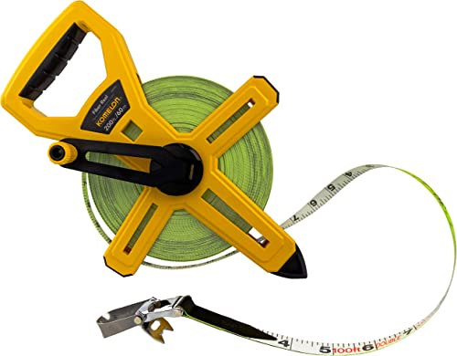 Komelon 6622IM Fiber Reel Long Open Reel Tape Measure Inch/Metric Scale with Double Nylon Coated Fiberglass Blade 200...