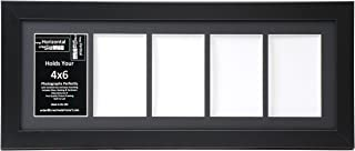 Creative Letter Art [8x22bk-b] 5 Opening Black Picture Frame Holds 4x6 Media with Black Collage Mat and Glass Face