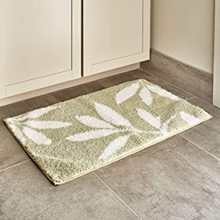 iDesign Leaves Microfiber Polyester Bath Mat, Non-Slip Shower Accent Rug for Master, Guest, and Kids' Bathroom, Entryway, 34