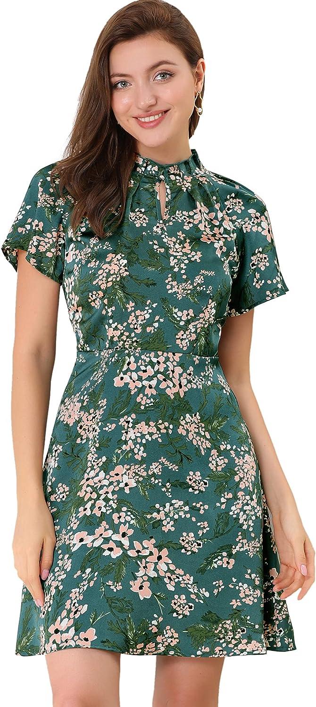 Allegra K Women's Ruffled Collar Keyhole Raglan Sleeve Casual Floral A-Line Dress