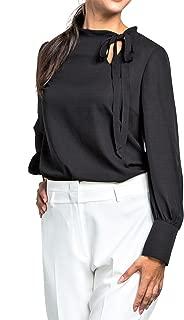 Womens Princess Cuff Long Sleeve Chiffon Blouse, Narrow Tie Neck, Wear to Work