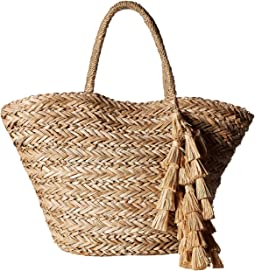 Perfect Beach Tote with Long Pom Strand Trim