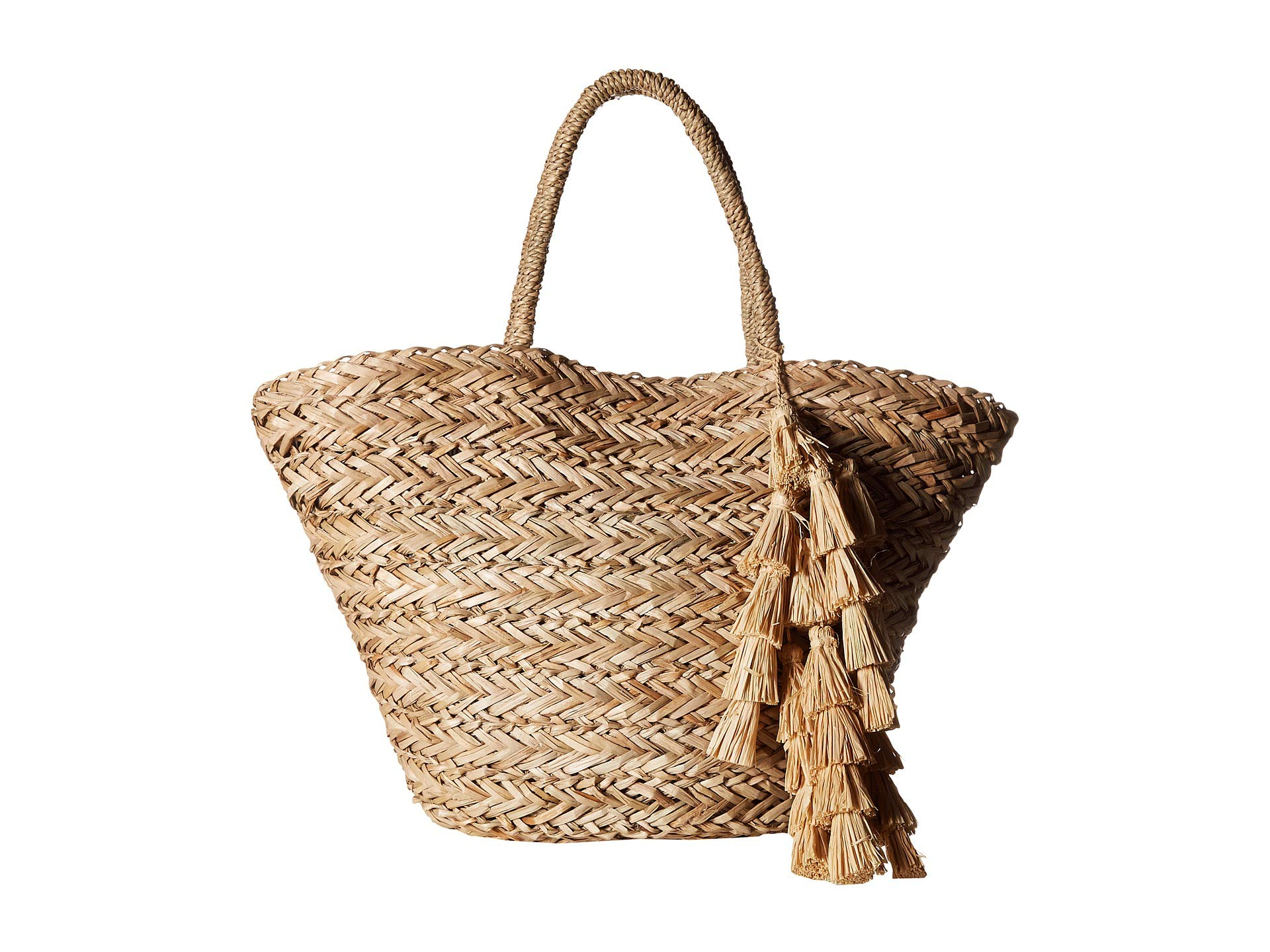 natural Hat Beach With Attack Tote Natural Perfect Long Trim Strand Pom xawvnaHq