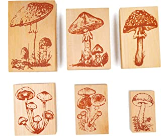 Cliocoo 6pcs Wood Rubber Stamp Set, Mushroom, Agaric M-22