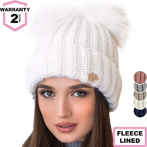 da4a7d2a Braxton Beanie Women - 2 Pom Ears Cable Knit Winter Warm Fleece Hat - Wool  Snow