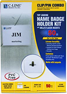 C-Line Name Badge Kit with Inserts, Top Load, 3-1/2
