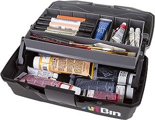 ArtBin 6891AG Art Supply Box, Portable Art & Craft Organizer with Lift-Up Tray, [1] Plastic Storage Case, Gray/Black