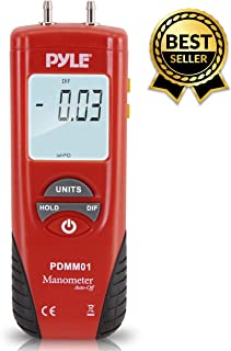 Manometer 11 Unit of Pressure - Meters Digital Measurement Maximum 10 PSI Data Hold & Error Code Measure Gauge Differential Gas Tester - Large LCD Backlit Dual Display w/Auto Power Off - PYLE PDMM01