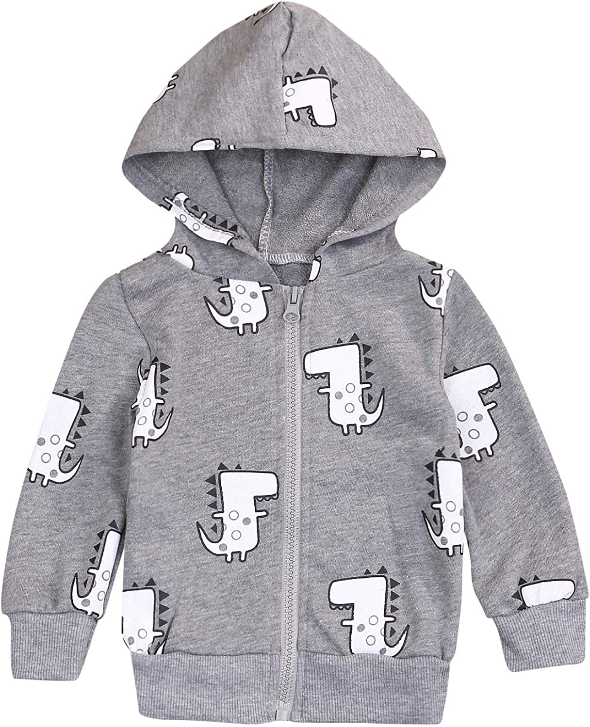 YOUNGER TREE Infrant Baby Boy Clothes Long Sleeve Dinosaur Hooded Sweatshirt Zipper Autumn Outfits