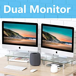 FITUEYES Clear Computer Monitor Riser Dual Desktop Stand for Xbox One/Component/Flat Screen TV -2 Pack,DT103803GC