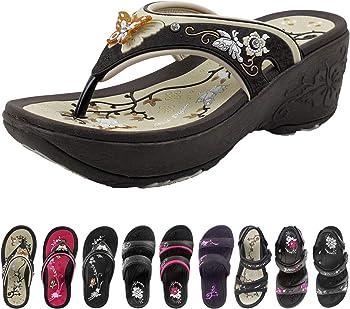 Gold Pigeon Shoes Wedge Women's Comfort Flip Flops Slides & Strap Sandal