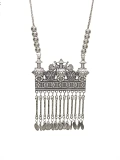 Total Fashion Oxidized German Silver Plated Traditional Square Shape Chain Pendant Necklace for Women and Girls