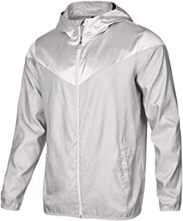 ID Ideology Mens Silver Wind & Water Resistant Training Windbreaker Light Weight Hooded Jacket 3XL