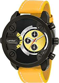 Lamkei Imported Chronograph Dual Time Display Yellow Dial Yellow Leather Strap Men's Watch – LMK-0152