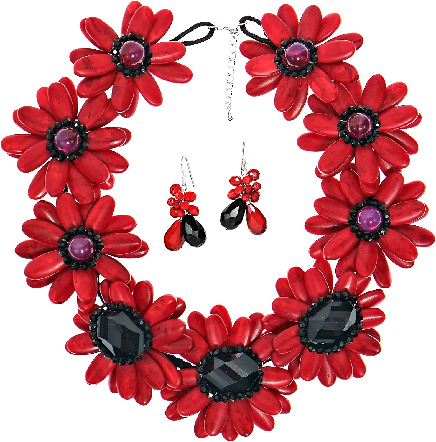 AeraVida Red New product Special sale item Water Lotus Dyed Onyx Black Simulated Howlite