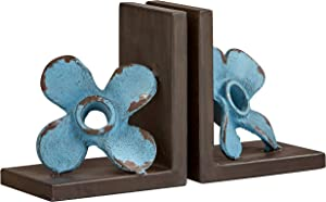 Stone & Beam Vintage Iron Windmill Decor Bookends - Set of 2, 6.25 Inch, Blue and Dark Wood