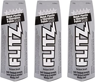 Flitz Multi-Purpose Polish and Cleaner Paste for Metal, Plastic, Fiberglass, Aluminum, Jewelry, Sterling Silver: Great for Headlight Restoration + Rust Remover, Made in the USA, 5.29 oz, 3 Pack