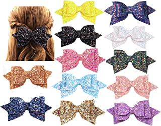 WENTO 12 PCS 5 INCH Glitter Hair Bows Sparkly Hair Bows Multi Color Glitter Hair Accessories for Womens HB001 (Assorted Colors 12pcs)