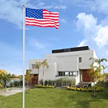 VINGLI Upgraded Sectional 25FT Flag Pole,w/ 3'x5' Free US Flag Golden Ball Top Kit Halyard Rope PVC Sleeve,27~33mph Flagpole for Residential Garden Outdoors Décor