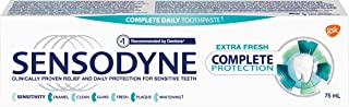 Sensodyne Daily Sensitive Toothpaste, Complete Protection and Relief for Sensitive Teeth, Protects Against Plaque, Cavitie...