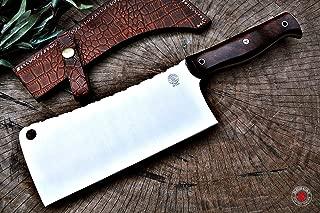BOBCAT Custom Handmade Cleaver Butcher Knife ''THE ROCK'' D2 Steel 7.50''-inch Heavy Duty With Leather Sheath