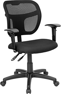 Flash Furniture Mid-Back Black Mesh Swivel Task Office Chair with Back Height Adjustment and Adjustable Arms