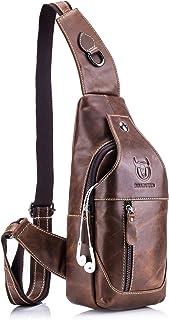Sling bag,Bolso Hombres de pecho,Cuero genuino Crossbody,Bolso de hombro,Bolsos de mochila,Mochila Messenger Bag,Daypack para el negocio Casual (Marrón-019)