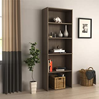 RealRooms Tally 5 Shelf Bookcase, Medium Brown
