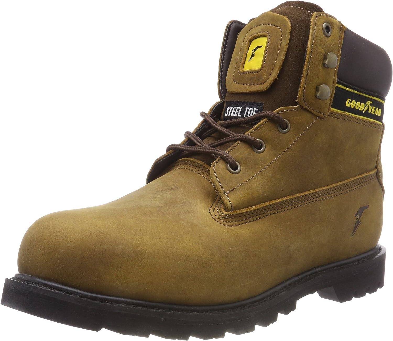 Goodyear Workwear GYBT1536 Mens Waterproof Welted Mid Cut Work Safety Boot S3 SRC, Brown, UK12 EU46