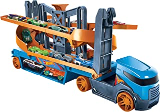 Hot Wheels City Lift & Launch Hauler Vehicle with 1 Hot Wheels Car, For 3 Year Olds and Up GNM62