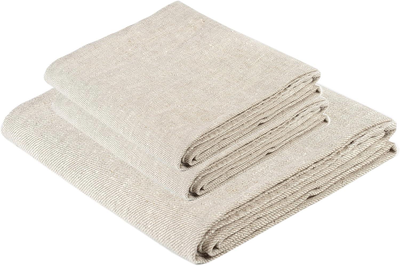 BLESS Direct stock discount LINEN Natural Huckaback Pure 3 Set of Linen Towel Spasm price