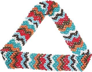 WigsPedia Native American Pattern Elastic Stretch Seed Bead Beaded Headband Hair Accessories (Turquoise/White/Bronze Chevrons)